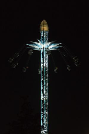 joyride: London, United Kingdon - 5 September 2013: Sky high ride in the center of London at night. Editorial
