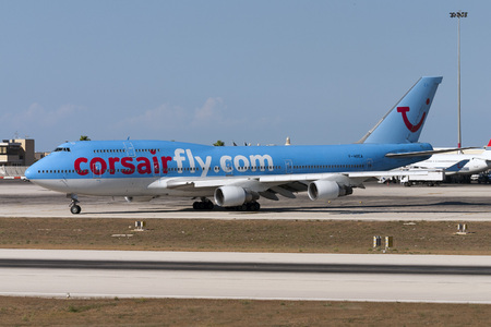 exiting: Luqa, Malta - 10 September 2007: Corsair International Boeing 747-422 [F-HSEA] exiting apron 9 for tack off.