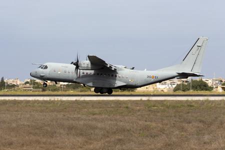 Luqa, Malta - 25 September 2014: Spanish Air Force CASA C-295M [T21-13] landing runway 31.
