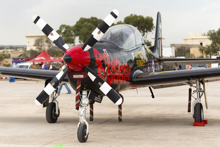 royal air force: Luqa, Malta - 25 September 2014: Detail of the specially painted Royal Air Force Short S-312 Tucano T1 [ZF244].
