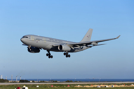 royal air force: Luqa, Malta - 26 January 2016: Royal Air Force Airbus A330 Voyager KC3 (A330-243MRTT) [ZZ338] arriving runway 31, accompanying a flight of 4 Eurofighter Typhoons.