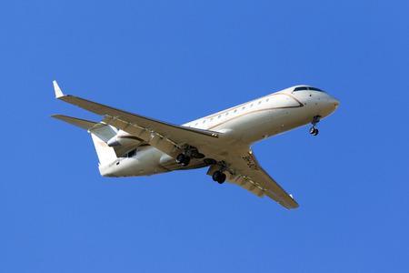 Luqa, Malta - 7 September 2016: A private Bombardier CRJ-200ER (CL-600-2B19) [9H-JOY] on long finals runway 31. Editorial