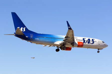 Luqa, Malta - 8 September 2016: Scandinavian Airlines - SAS Boeing 737-86N [LN-RGI] on finals runway 31. Special color scheme celebrating 70 years of SAS.