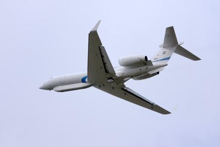 aerospace: Luqa, Malta - 4 December 2007: Israel Air Force Gulfstream Aerospace G-V Gulfstream V Shavit (a heavily modified Gulfstream G550 Eitam AEW platform) perfoming a missed approach on runway 32.