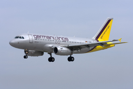 Luqa, Malta - 4 March 2008: Germanwings Airbus A319-112 on short finals runway 32. Old colour scheme.