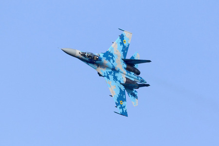 Kalkara, Malta - 23 September 2016: Ukrainian Air Force Sukhoi Su-27UB [71] making a rehearsal flight over the east coast for the upcoming airshow in the weekend.