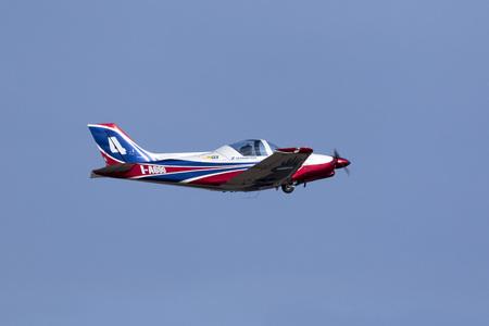 airplane ultralight: Luqa, Malta - 26 September 2016: Pioneer Team Alpi Pioneer 330 Acro departing runway 05, having participated in the Malta International airshow 2016 in the weekend.