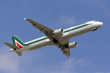 Luqa, Malta - 29 September 2016: Alitalia Airbus A321-112 [I-BIXM] on departure from runway 13 to Rome, Fiumicino Airport.