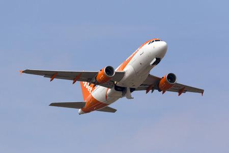 Luqa, Malta - 29 September 2016: EasyJet Airline Airbus A319-111 [G-EZFK] taking off from runway 13.