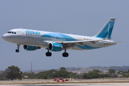 Luqa, Malta - 4 June 2008: Clickair Airbus A320-214 landing runway 31. Clickair was later bought by Vueling Airlines. Editorial