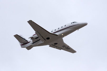 xls: Luqa, Malta - 11 May 2008: Cessna 560XL Citation XLS [OE-GSP] taking off from runway 13. Editorial