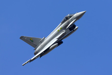 royal air force: Luqa, Malta October 19, 2015: Royal Air Force Eurofighter EF-2000 Typhoon FGR4 run in and break on runway 13 after arriving with another 3 Eurofighters. Editorial