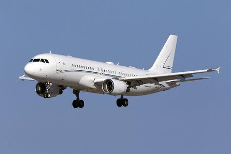 Luqa, Malta July 26, 2016: Alpha Star Aviation Services Airbus A320-214(CJ) Prestige [HZ-A3] landing runway 31.