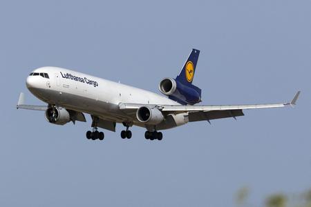 Luqa, Malta July 7, 2016: Lufthansa Cargo McDonnell Douglas MD-11(F) [D-ALCM] landing runway 31. Editorial