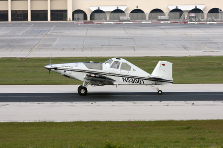 Luqa, Malta January 15, 2011: Thrush S2R-T34 Thrush 510P [N53001] rolling on runway 31 after landing.