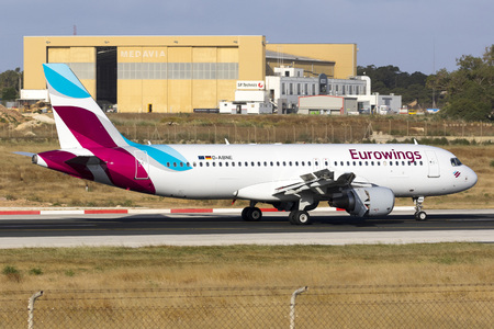 Luqa, Malta May 9, 2017: Eurowings  [D-ABNE] A320-214 landing runway 31. Ex Air Berlin aircraft. Editorial