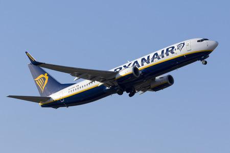 Luqa, Malta May 19, 2017: Ryanair Boeing 737-8AS [EI-FOV] taking off runway 13.