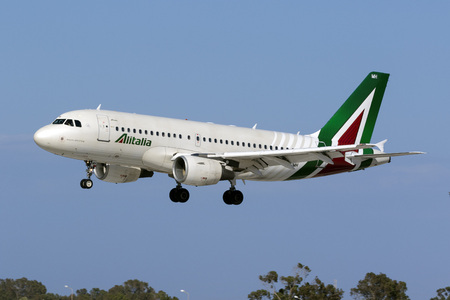 Luqa, Malta May 21, 2017: Alitalia Airbus A319-112 [EI-IMH] in the latest livery for Alitalia landing runway 31. Editorial