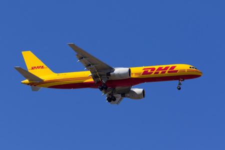 Luqa, Malta May 23, 2017: DHL (European Air Transport - EAT) Boeing 757-2Q8(PCF) [D-ALEN] on finals runway 31. Editorial