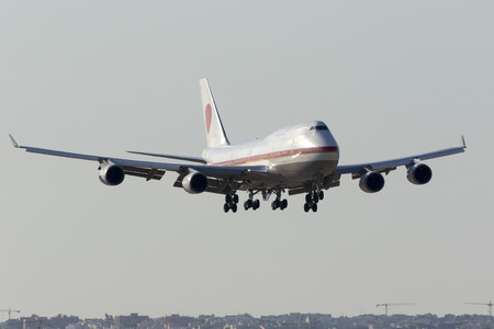 abe: Luqa, Malta May 27, 2017: Japaese Air Force Boeing 747-47C [20-1102] coming in to land runway 13. Accompanied by another 747, they brought Japanese Prime minister Shinzo Abe and delegation to Malta.