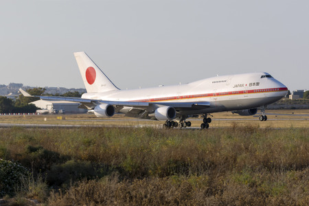 Luqa, Malta May 27, 2017: Japaese Air Force Boeing 747-47C [20-1102] coming in to land runway 13. Accompanied by another 747, they brought Japanese Prime minister Shinzo Abe and delegation to Malta. Sajtókép