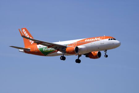 Luqa, Malta June 17, 2017: EasyJet Airline Airbus A320-214 [G-EZPC] with a special color scheme promoting Europcar. Editorial