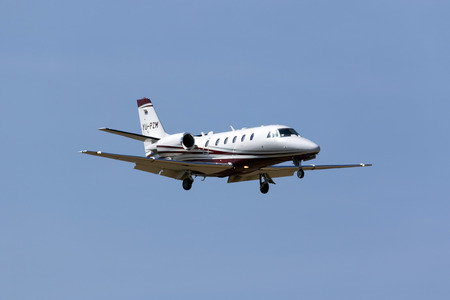 Luqa, Malta June 17, 2017: A private Cessna 560XL Citation Excel+ [YU-PZM] on short finals runway 31.