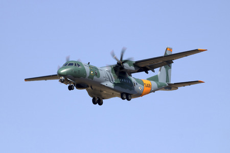 Luqa, Malta June 29, 2017: Brazilian Air Force CASA C-105 Amazonas (C-295) [6550] on finals runway 31. Brand new machine which was on display at Paris Airshow a few days earlier. Editorial