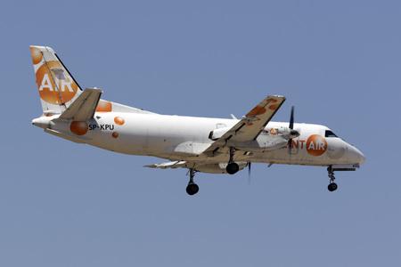 Luqa, Malta June 29, 2017: Sprint Air Saab 340A(F) [SP-KPU] landing runway 31, arriving from Marseille, France on a cargo flight. Editorial