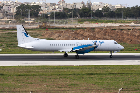 Luqa, Malta December 13, 2010: AirGo Airlines British Aerospace ATP(F) [SX-BPS] landing runway 31.