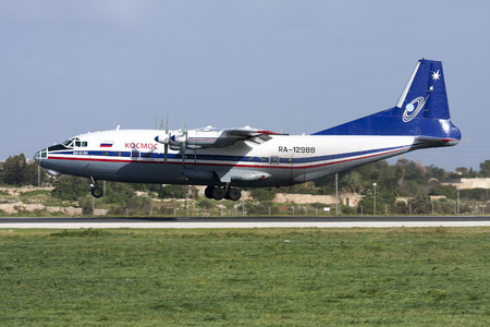 Luqa, Malta December 10, 2010: Kosmos Antonov An-12B [RA-12988] seconds before touch down runway 31. Editorial