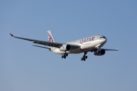 Luqa, Malta July 18, 2017: Qatar Airways Cargo Airbus A330-243F [REG: A7-AFJ] coming in to landing runway 31 in the morning, direct from Doha, Qatar.