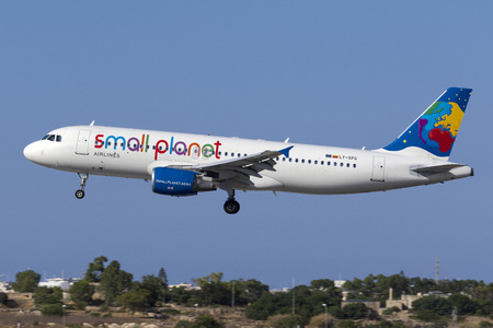 reg: Luqa, Malta July 15, 2017: Small Planet Airlines Airbus A320-214 [REG: LY-SPG] landing runway 31, arriving from Norway. Editorial