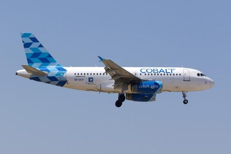Luqa, Malta August 2, 2017: Cobalt Air A319-132 [REG: 5B-DCV] arriving from Frankfurt, Germany, operating a Condor flight.