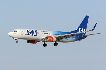 Luqa, Malta August 1, 2017: Scandinavian Airlines - SAS Boeing 737-86N [LN-RGI] in the 70th Anniversary Special color scheme. Sajtókép