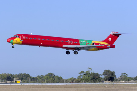 Luqa, Malta August 1, 2017: Danish Air Transport McDonnell Douglas MD-83 (DC-9-83) [OY-RUE] operating Air Malta flight 117 from Gatwick. Editorial