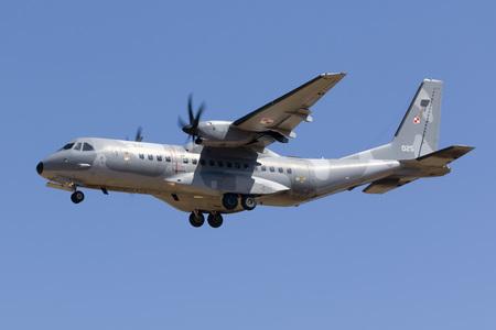 Luqa, Malta September 21, 2017: Polish Air Force CASA C-295M [025] on finals runway 31. Editorial