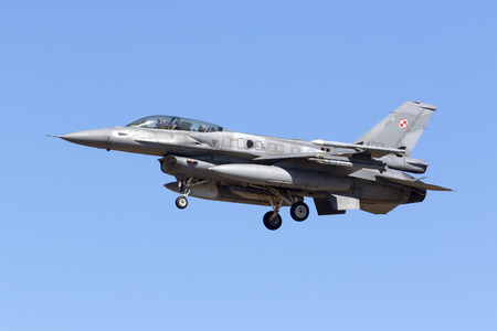 Luqa, Malta September 21, 2017: Polish Air Force Lockheed Martin F-16DJ Fighting Falcon [4081] arriving to participate in the static display of MIA2017 the following weekend. Editorial