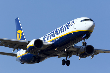 Luqa, Malta - September 24, 2017: Ryanair Aircraft: Boeing 737-8AS [Reg: EI-DLG] on short finals runway 13.