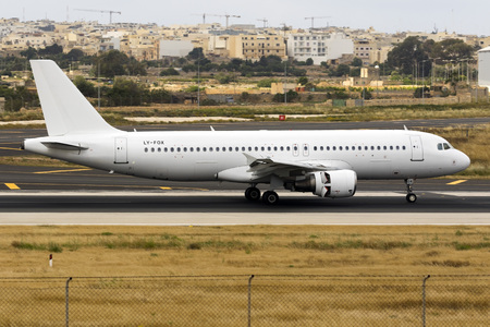 Luqa, Malta May 10, 2018: GetJet Airlines Airbus A320-214 [LY-FOX] operating an Air Malta flight.