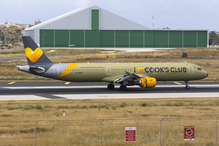 Luqa, Malta May 10, 2018: Thomas Cook Airlines Airbus A321-211 [REG: G-TCDV] in e new special livery promoting Cooks Club new generation of Hotels.