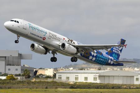 Luqa, Malta April 8,2018: Turkish Airlines Airbus A321-231 [REG: TC-JRG]