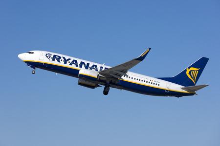 Luqa, Malta - August 28, 2018: Ryanair Boeing 737-8AS (EI-FIJ) departing from runway 31.