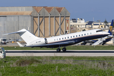 Luqa, Malta - November 12, 2018: TAG Aviation Bombardier Global 5000 (REG: 9H-ASB) on take off from runway 13.