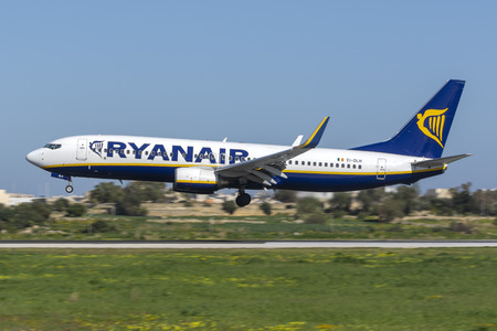 Luqa, Malta - 2 February 2019: Ryanair Boeing 737-800 (REG: EI-GJE) on finals runway 31 on a sunny winter afternoon.