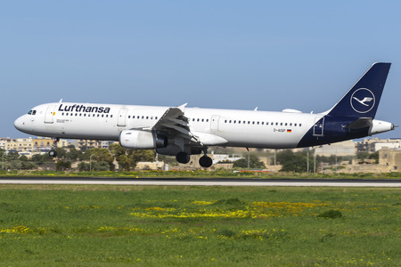 Luqa, Malta -  February 2, 2019: Lufthansa Airbus A321-231 (D-AISP), the first A321 and the second plane overall to wear the new Lufthansa livery.