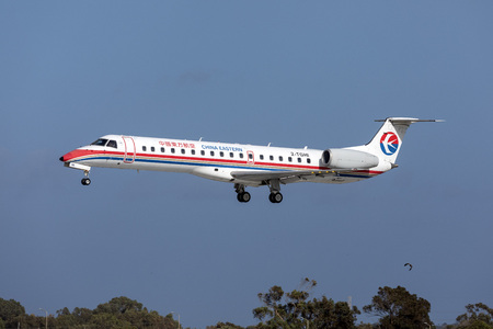 Luqa, Malta - March 15, 2019: China Eastern Embraer ERJ-145LR on delivery after storage.