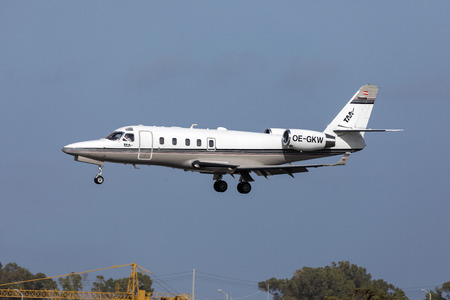 Luqa, Malta - March 15, 2019: Tyrol Air Ambulance Gulfstream Aerospace G100 (OE-GKW) on short finals runway 31.