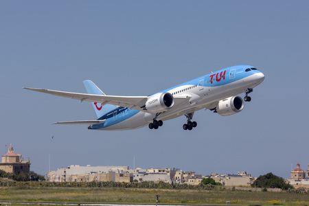 Luqa, Malta - April 18, 2019: Thomson Airways Boeing 787-8 Dreamliner (G-TUIH) on departure back to Manchester, UK.