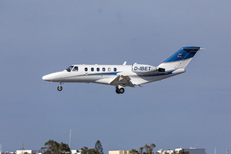 Luqa, Malta - May, 2019: A Private Cessna 525A Citation CJ2 (Reg: D-IBET) on finals runway 31.